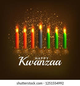 Illustration Of Happy Kwanzaa Greeting Card Background.