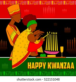 illustration of Happy Kwanzaa greetings for celebration of African American holiday festival of harvest