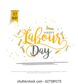 Illustration Of Happy Labour Day Poster Or Banner Background.