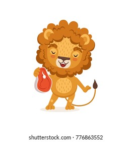 Illustration of happy lion cartoon character standing and holding piece of meat in paw. African animal with lush mane. Vector