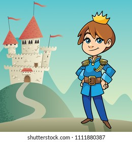 Illustration of happy little prince on fantasy background.