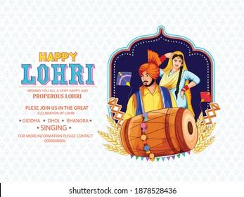 illustration of Happy Lohri festival of Punjabi with Background