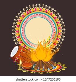 illustration of Happy Lohri holiday background for Punjabi festival with festival background ,decoration and elements