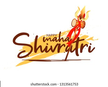Illustration Of Happy Maha Shivaratri Hindu Festival Celebrate Of Shiva Lord,Poster Or Banner Background.