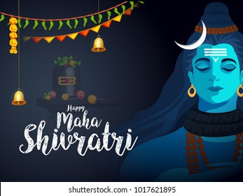 Illustration Of Happy Maha Shivratri Greeting Card Design.