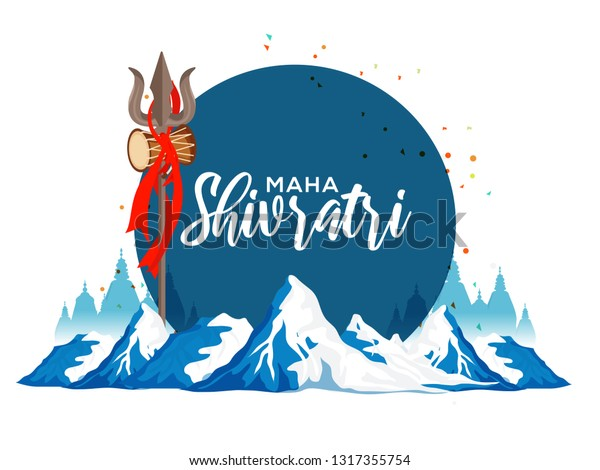Illustration Of Happy Maha Shivratri Greeting Card Design.