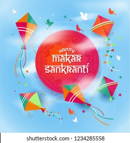 Illustration of Happy Makar Sankranti with colorful kite string for festival of India