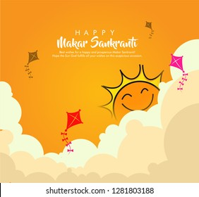 illustration of Happy Makar Sankranti with colorful kites clowd and sun on background with beautiful calligraphy.