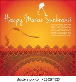 illustration of Happy Makar Sankranti with kite mandala