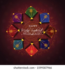 illustration of Happy Makar Sankranti wallpaper with colorful kite string for festival of India indian multicolor mandala with flat art vector flyer poster banner creative