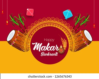 illustration of Happy Makar Sankranti wallpaper/banner/flyer with colorful kite string and festival elements with text for festival of India
