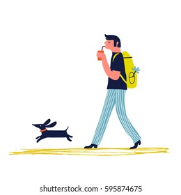 Illustration happy man with backpack walking with dachshund dog. Creative vector illustration.