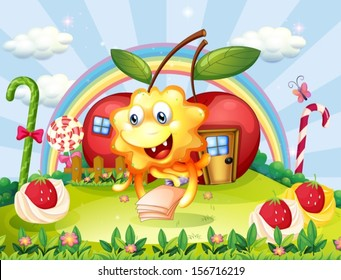 Illustration of a happy monster at the hilltop with giant lollipops and apple houses