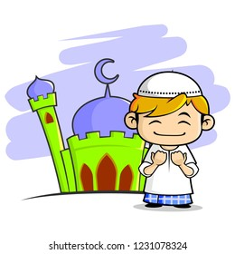 Illustration of happy muslim boy praying with mosque background