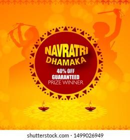 Illustration Of Happy Navratri Celebration  indian festival and ,big navratri sale offers background.