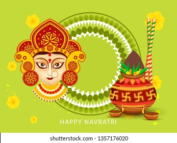 Illustration Of Happy Navratri Greeting Card Design With Beautiful Maa Durga Face On Grunge Background.