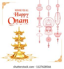 illustration of Happy Onam background with rangoli and lamp