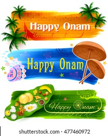 illustration of Happy Onam banner with traditional palm leaf umbrella and Sadya