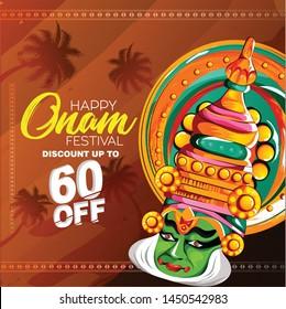illustration of  Happy Onam festival of South India Kerala  with kathakali face,  snakeboat race in Onam celebration background for