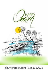 illustration of Happy Onam festival of South India Kerala colorful Kathakali dancer snakeboat race on background