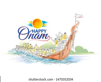 illustration of Happy Onam festival of South India Kerala,  snakeboat race in Onam  Mahabali king