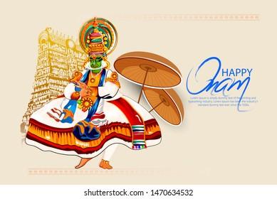illustration of Happy Onam festival of South India Kerala, kathakali dance, snakeboat race