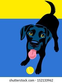 Illustration of a happy playful Black Labrador Retriever