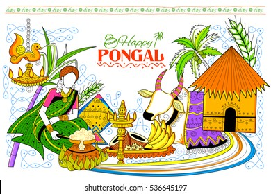 Pongal images stock photos vectors shutterstock illustration of happy pongal greeting background m4hsunfo