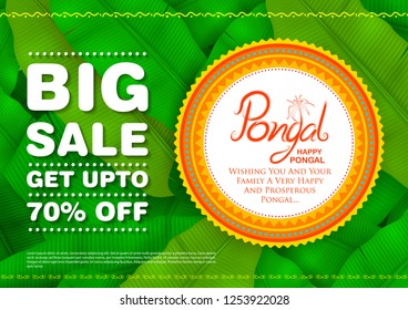 illustration of Happy Pongal Holiday Harvest Festival of Tamil Nadu South India Sale and Advertisement background