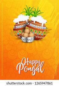 illustration of Happy Pongal Holiday Harvest Festival of Tamil Nadu South India greeting background - Vector