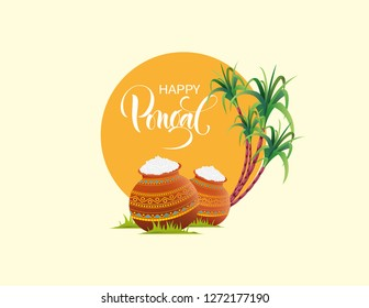 illustration of Happy Pongal Holiday Harvest Festival of South India. Happy Pongal. Indian Religion Festival.