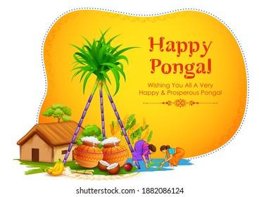 Illustration von Happy Pongal Holiday Harvest Festival of Tamil Nadu South India Grußhintergrund