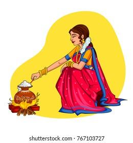 Indian Women Preparing Food Stock Illustrations Images Vectors Shutterstock