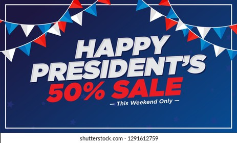 Illustration Of Happy Presidents Day 50% Sale Background.