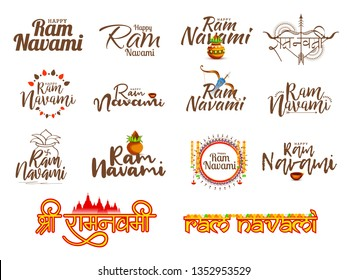 Illustration Of Happy Ram Navami Typography Set Background.