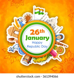 illustration of Happy Republic Day of India background