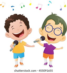 Illustration of happy singing boys