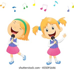 Illustration of happy singing girls