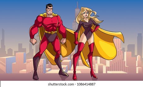 Illustration of happy and smiling superhero couple, standing tall on rooftop above the city.