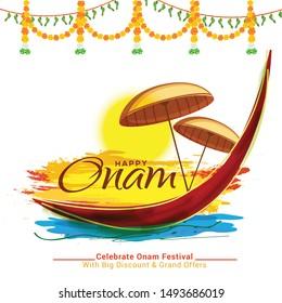 Illustration Of Happy South Indian Festival Onam Background.