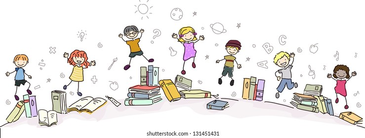 Illustration of Happy Stickman Kids Jumping with Books