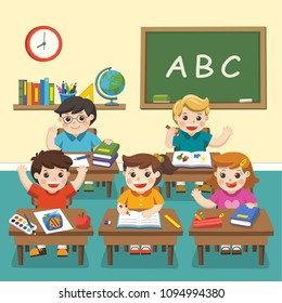 Illustration of Happy students studying in classroom. Kids Classroom.