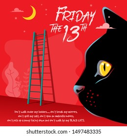 Illustration of Happy superstition, Friday with a cat face and ladder in the background