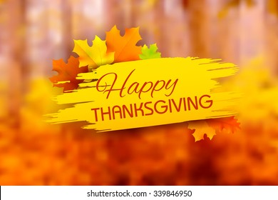 illustration of Happy Thanksgiving background with maple leaves
