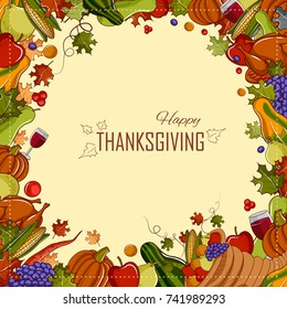 illustration of Happy Thanksgiving holiday festival background