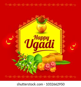 Illustration Of Happy Ugadi Greeting Card Background With Decorated Kalash.