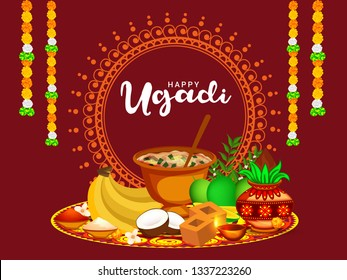 Illustration Of Happy Ugadi / Gudi Padwa Greeting Card Background With Decorated Kalash.