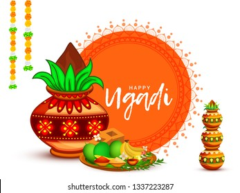 Illustration Of Happy Ugadi \u002F Gudi Padwa Greeting Card Background With Decorated Kalash.