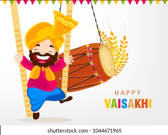 illustration of Happy Vaisakhi / Baisakhi Punjabi festival celebration background with Punjabi celebration elements and stylish text of Happy Vaisakhi