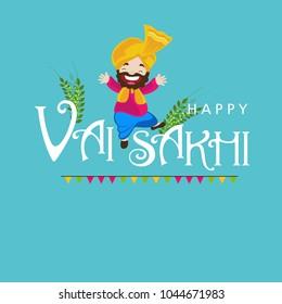 illustration of Happy Vaisakhi / Baisakhi Punjabi festival celebration background with Punjabi celebration elements and stylish text of Happy Vaisakhi